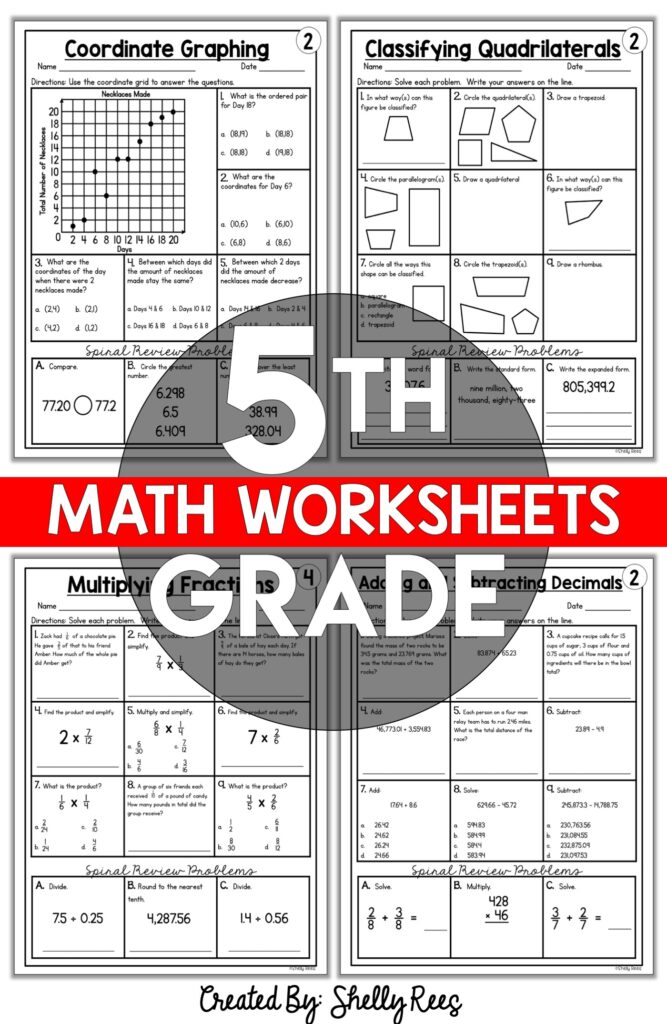 5th grade skills based math worksheets and activities