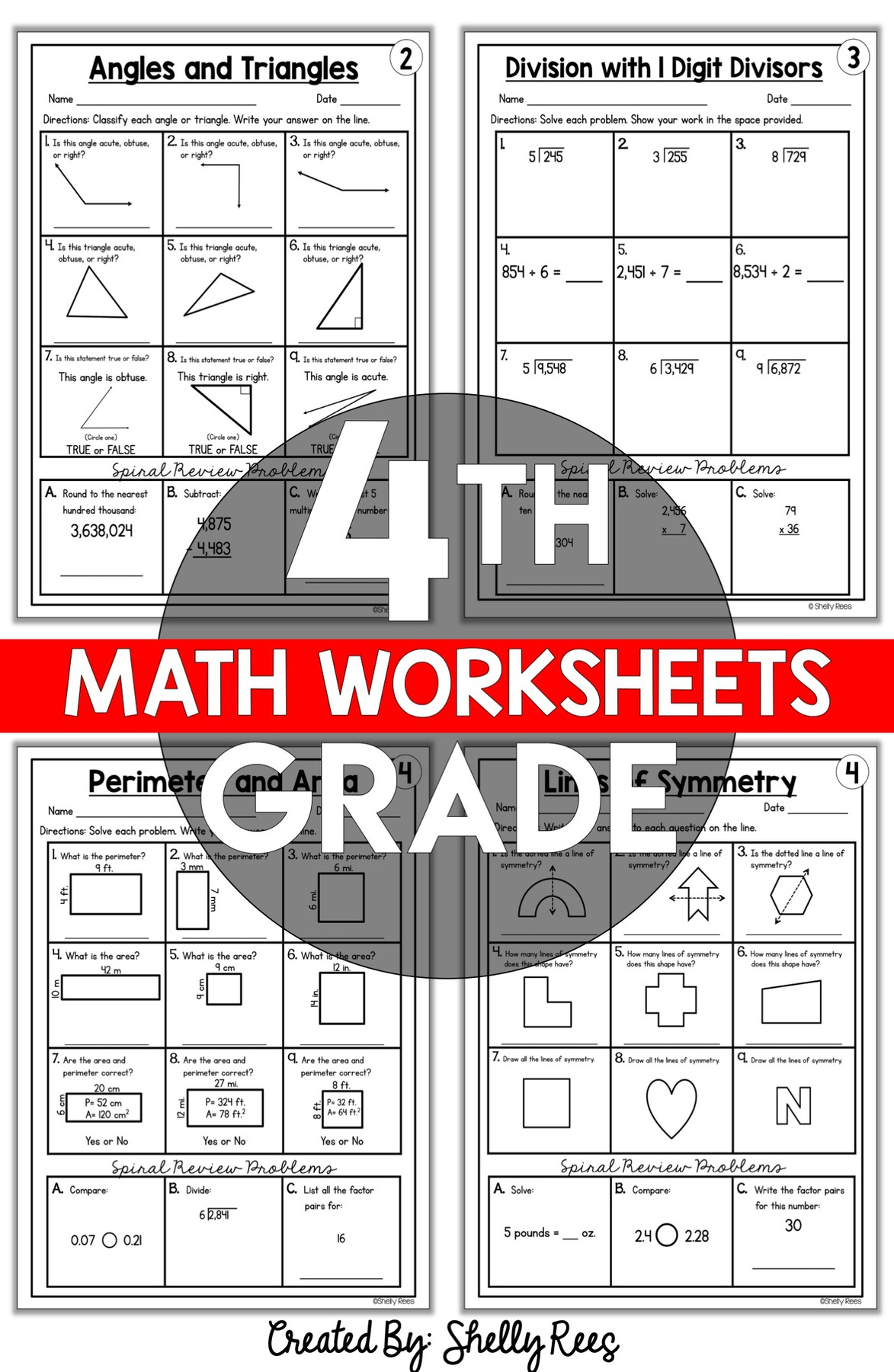 fourth grade math worksheets skills and standards