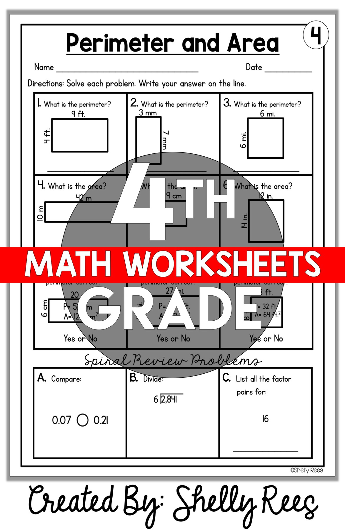 4th grade math worksheets for all skills and standards