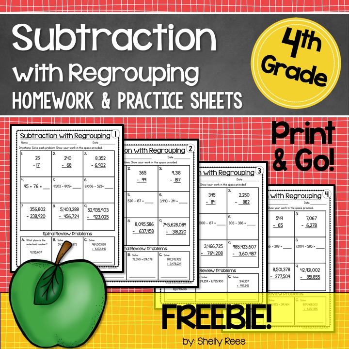 free subtraction with regrouping worksheets