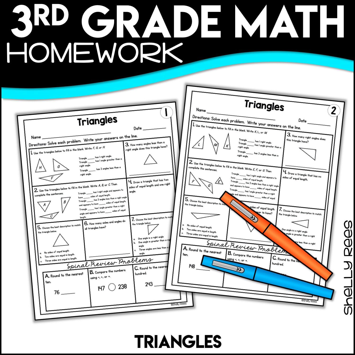 free triangles math worksheets