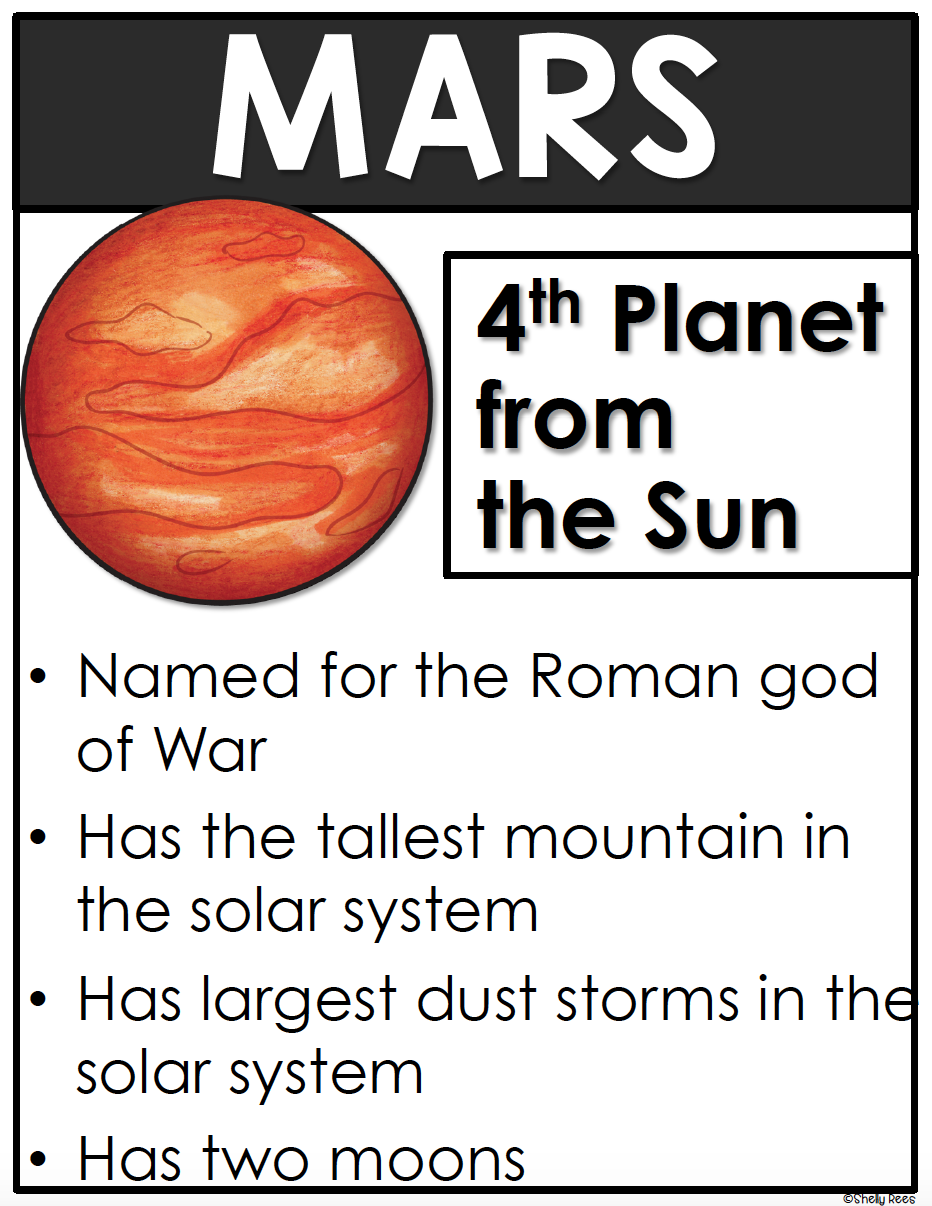 mars planet poster for solar system and space unit