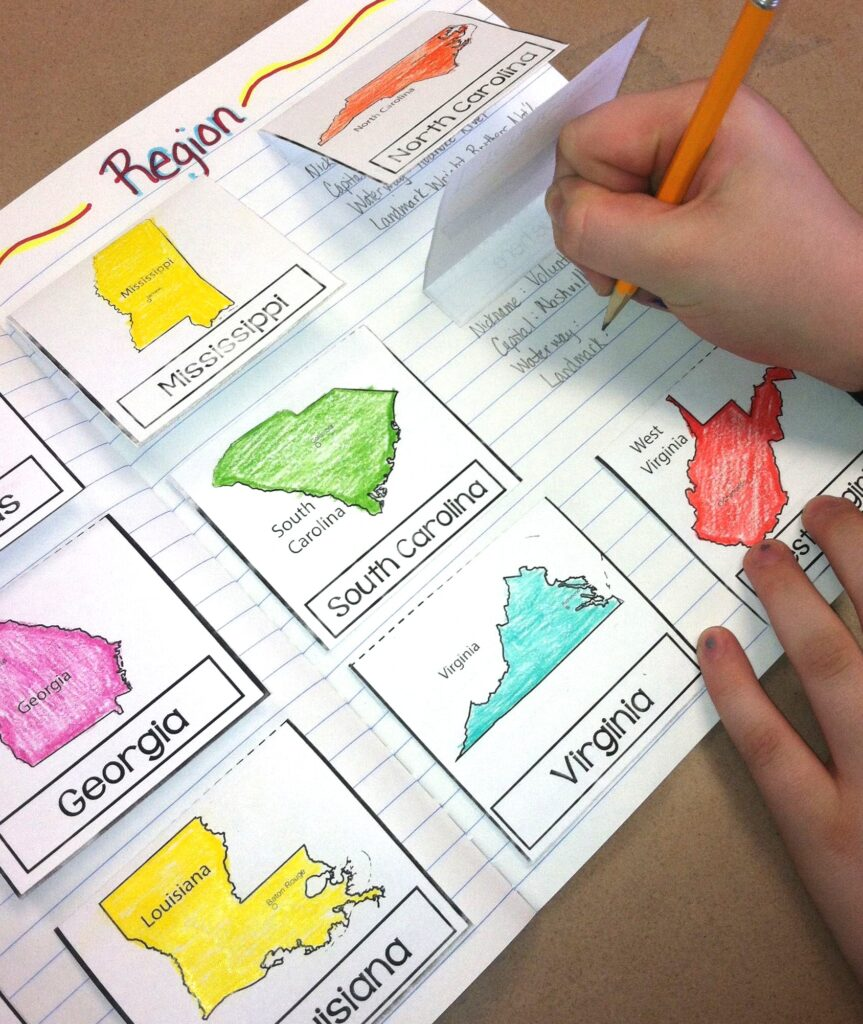 United States regions and states geography activity