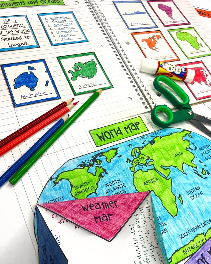 geography resource for maps continents oceans and landforms interactive geography notebook