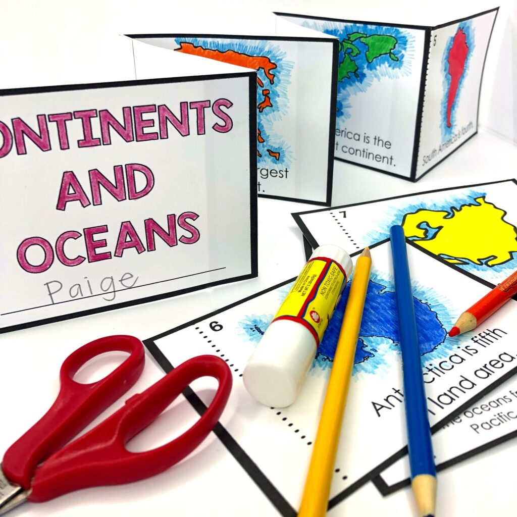foldable geography book for continents and oceans
