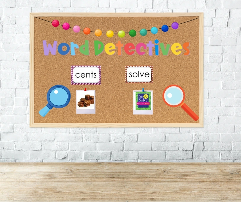 word detective bulletin board to find sight words in everyday life