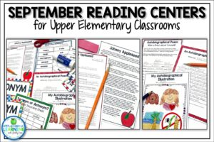 September reading centers and literacy activities for third, fourth and fifth grade