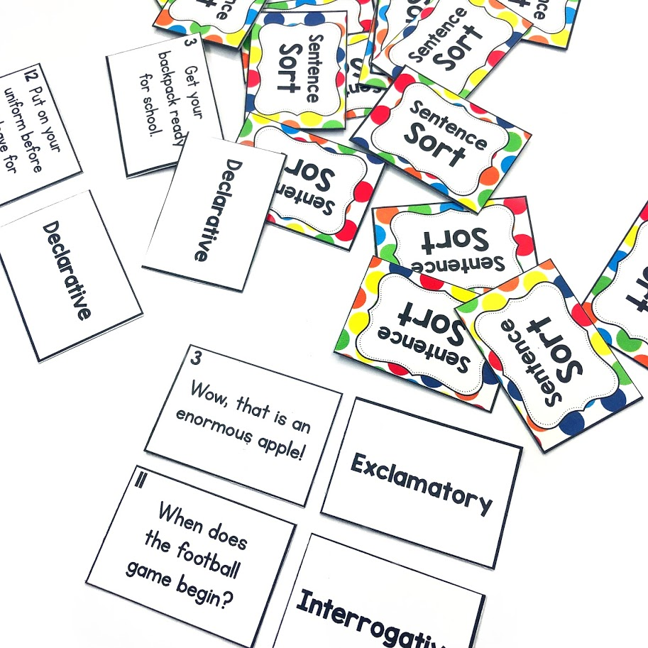 determining sentence types center game