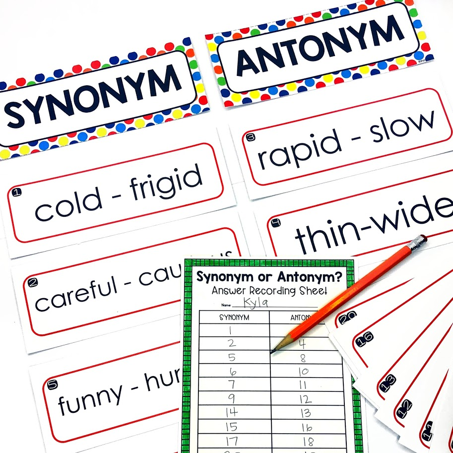 synonym and antonym game for upper elementary