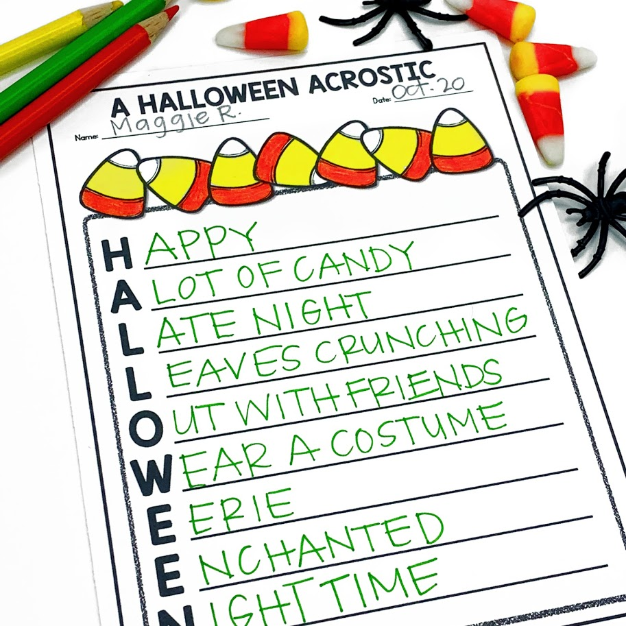acrostic poem writing activity for Halloween