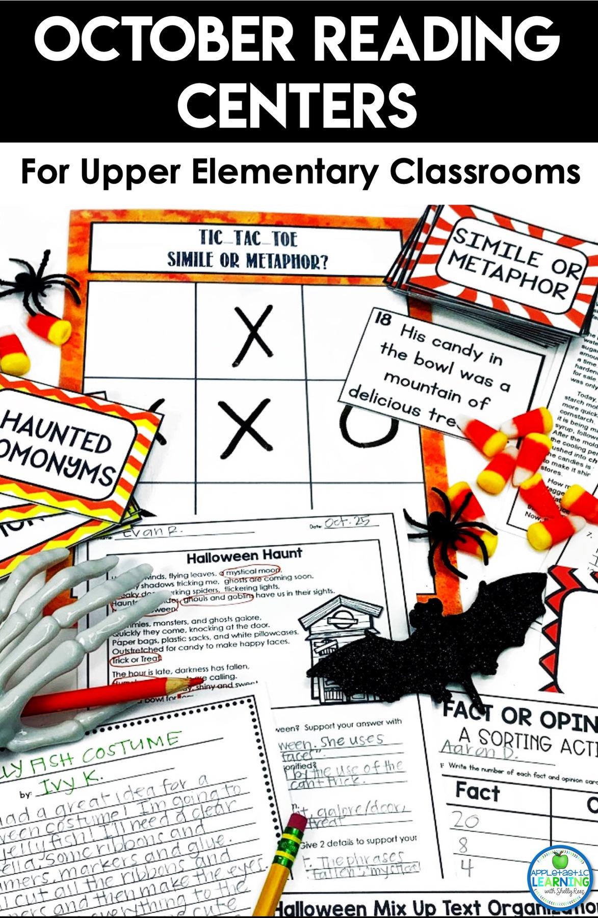 October Reading Centers for Upper Elementary - Appletastic ...