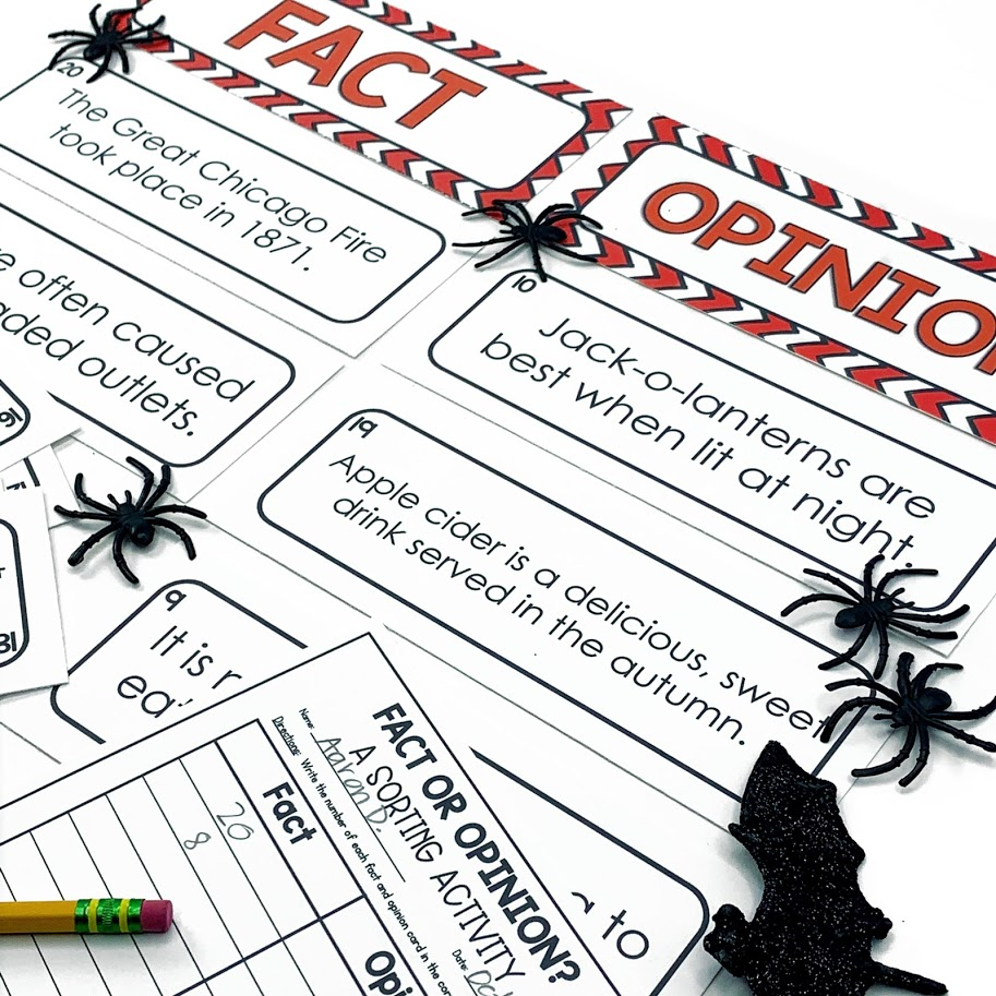 fact or opinion activity for October or Halloween