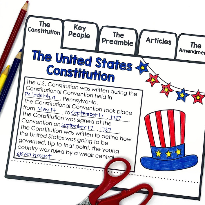 Constitution Day Activities for September 17 Constitution Flip Book