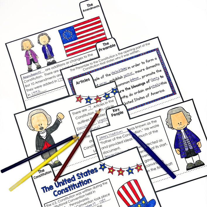Constitution Day or US Government flip book activity for upper elementary students