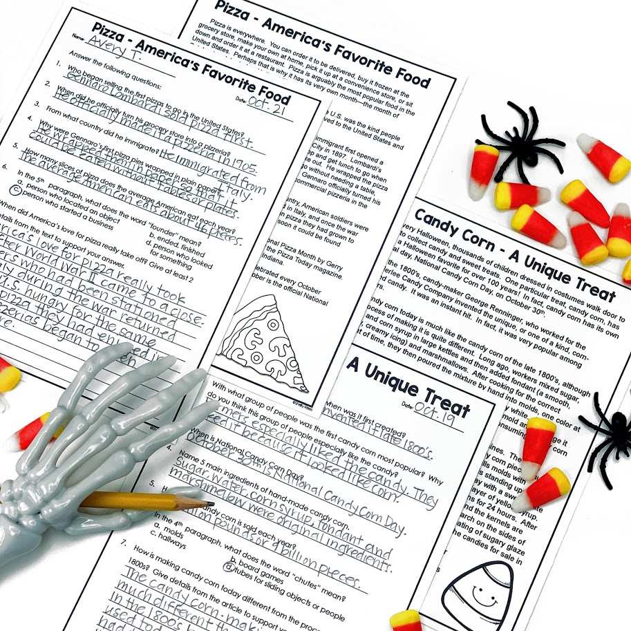 October reading comprehension passages and questions for upper elementary