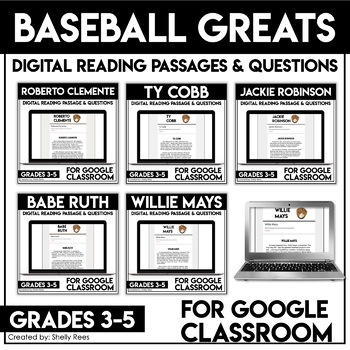 Baseball Greats Reading comprehension bundle for Google