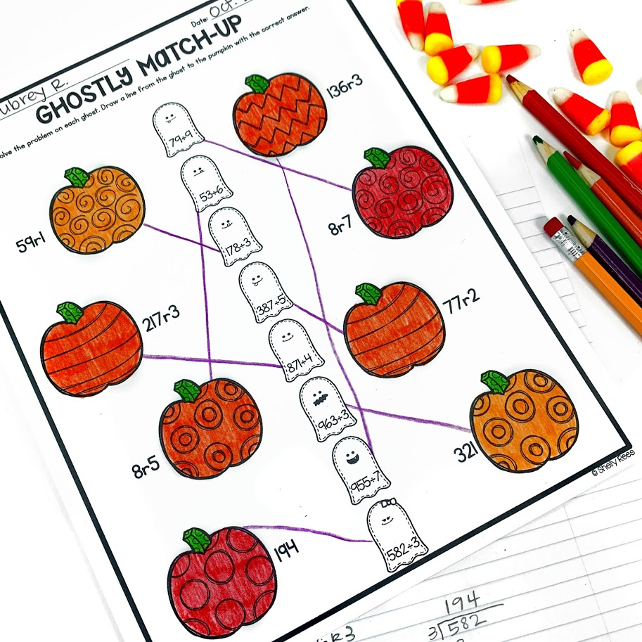 Halloween math activity for division with remainders
