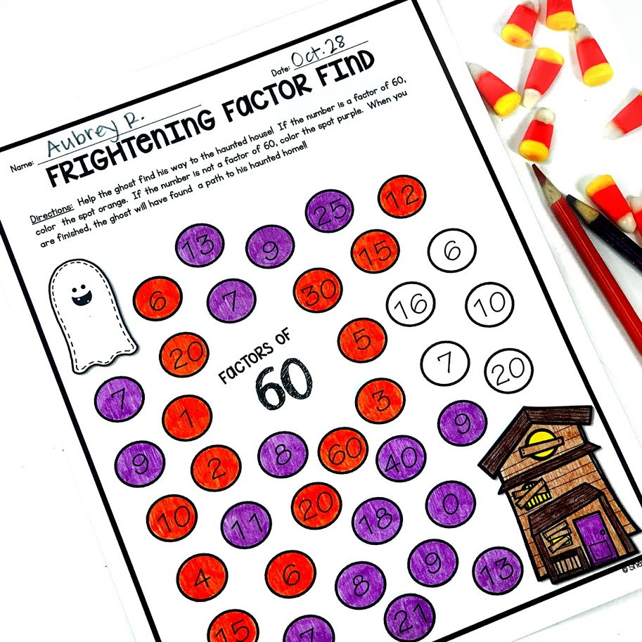 Halloween Math activity for finding factors