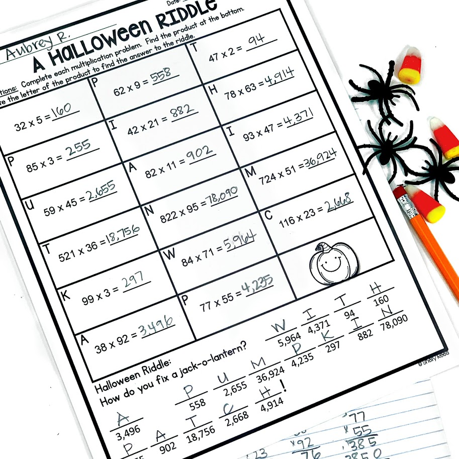 Halloween multiplication activity with two digit by two digit multiplication