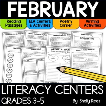 February reading activities and language arts centers