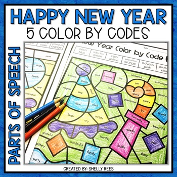 New Year Coloring Pages Parts of Speech Color by Number ...