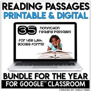 Google Forms for Reading Comprehension reading passage bundle