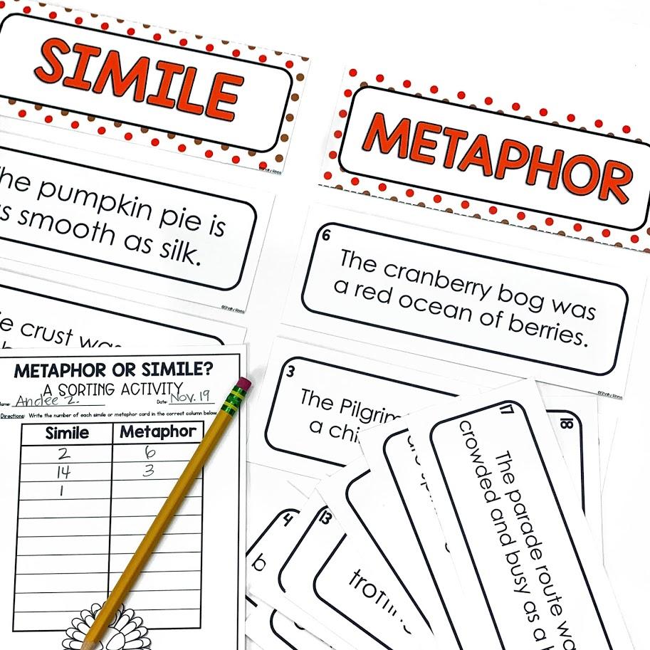 Simile and Metaphor identification sorting game