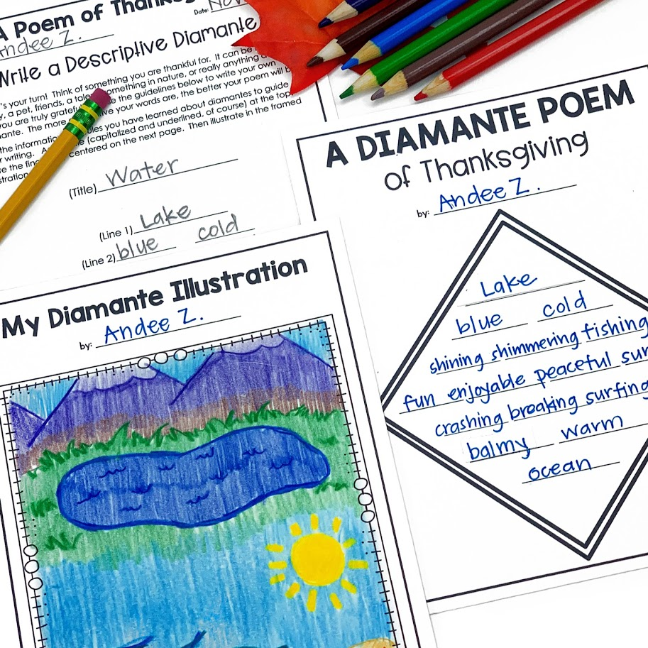 thankful diamante poem is a great way to practice descriptive writing and parts of speech