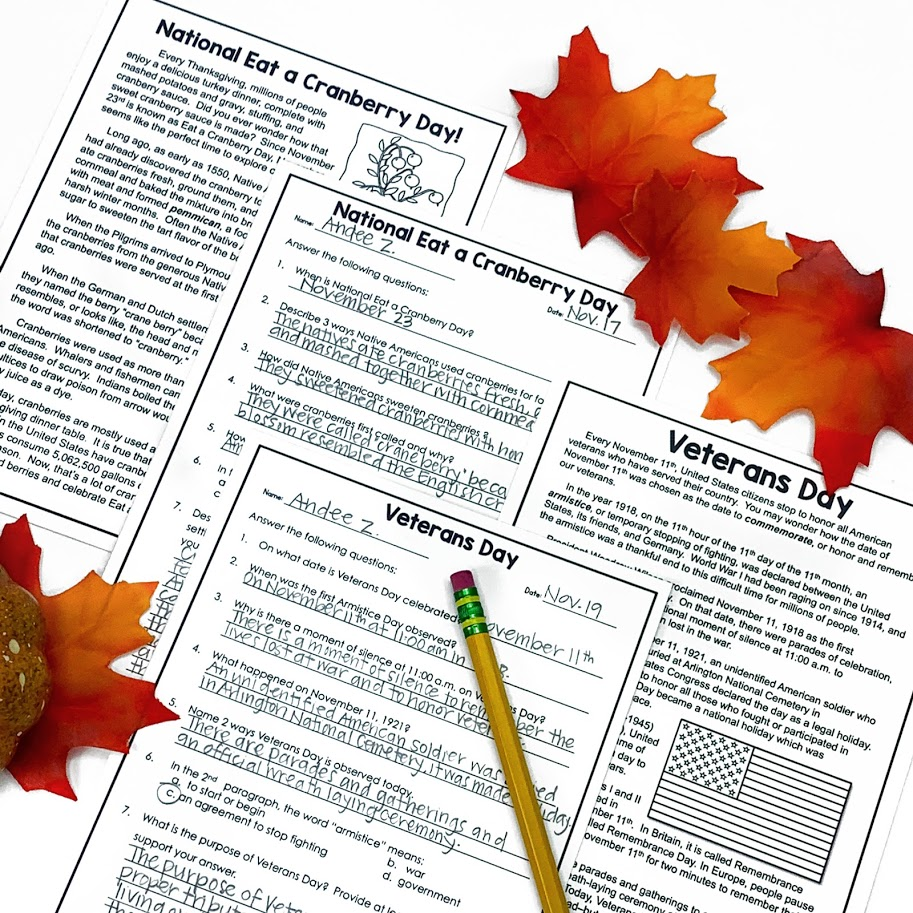 November reading activities for reading comprehension