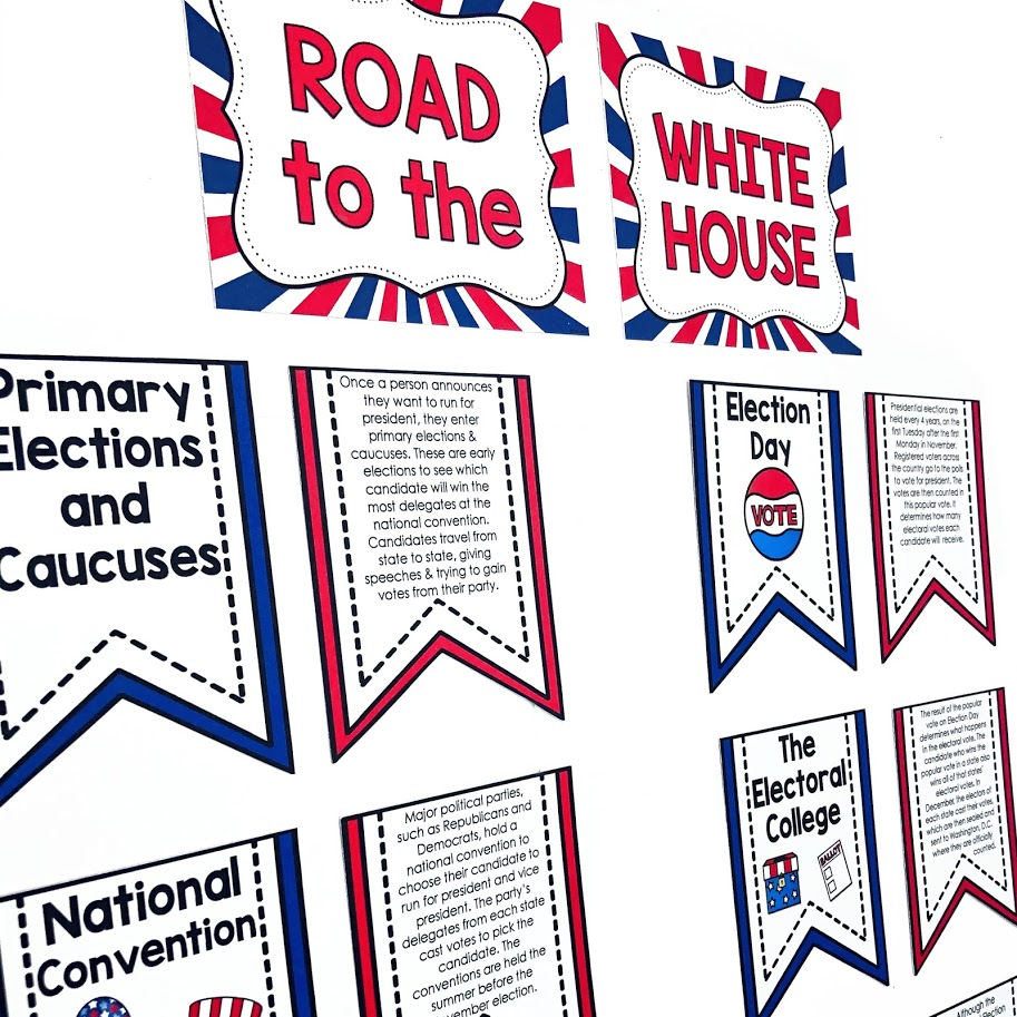 Road to the White House bulletin board teaching about the steps it takes to become president of the united states