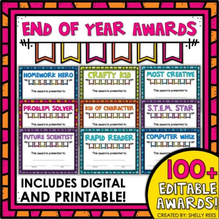 end of the year student awards printable and digital