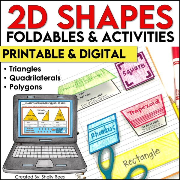 printable and digital interactive notebook activities for 2D shapes