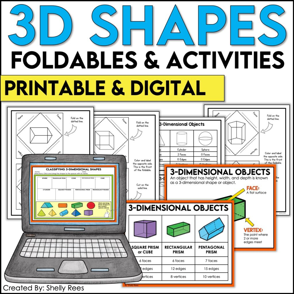 3D Shapes Print and Digital Interactive Notebook