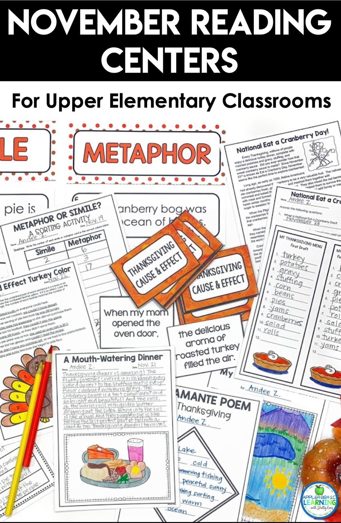 November reading activities for upper elementary classroom