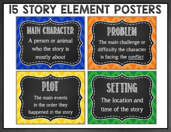 Check out these fun story element posters, perfect for students to display everything they've learned about their story. It includes bright chevron posters or classic black and white. It highlights elements such as plot, character and setting.