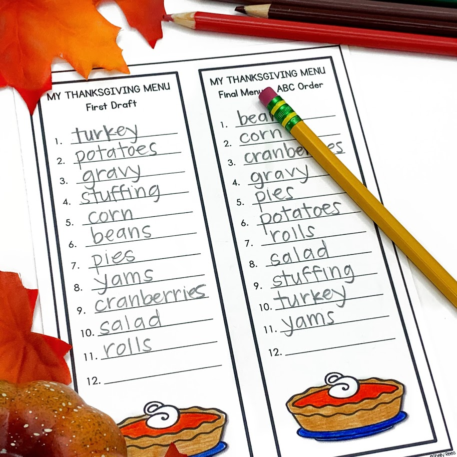 Turkey Dinner Alphabetical order activity