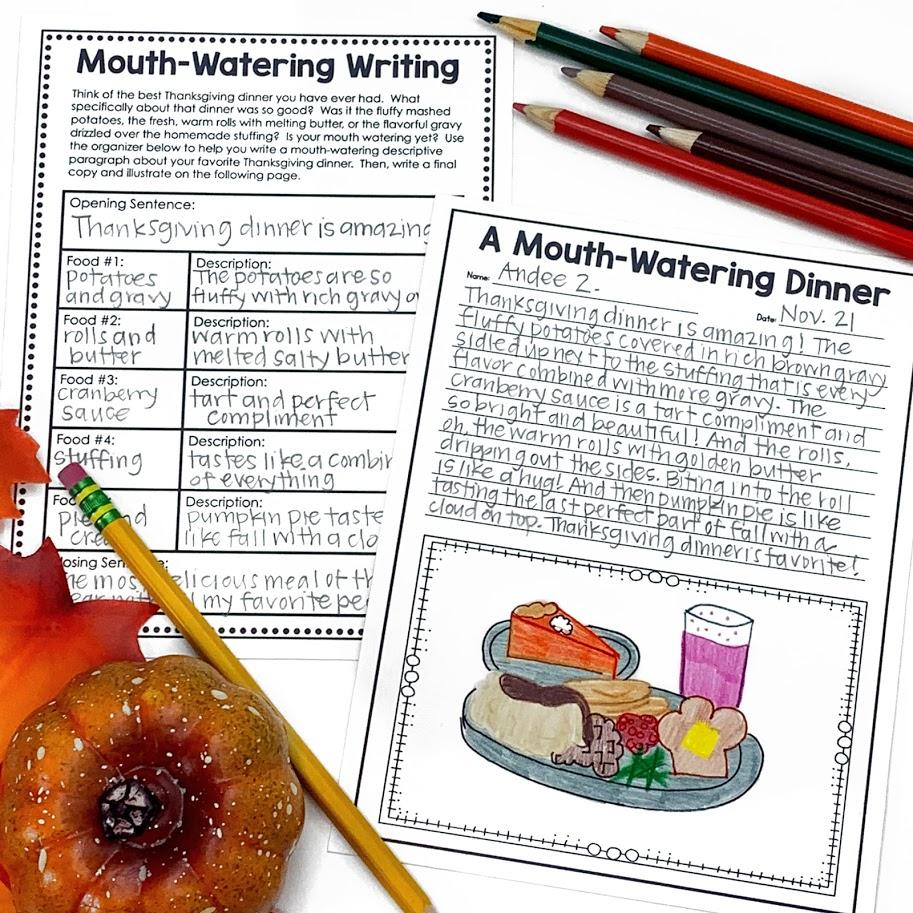 descriptive writing activity for Thanksgiving