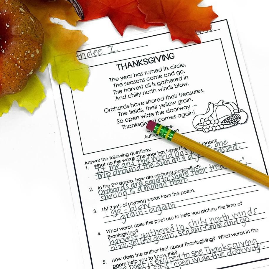 November poetry reading and comprehension questions