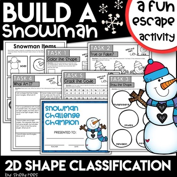 winter escape room activity for 2D shapes
