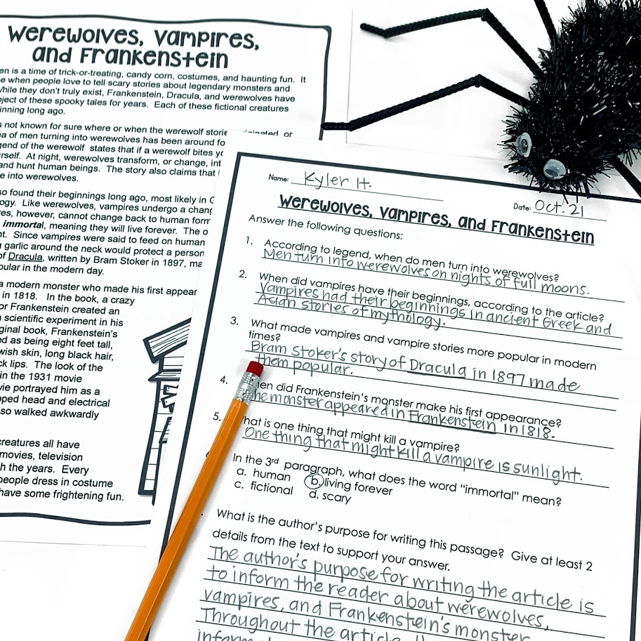 Halloween reading passage and comprehension questions