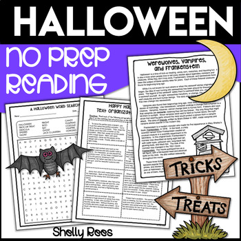 No Prep Halloween Reading Activities for Upper Elementary