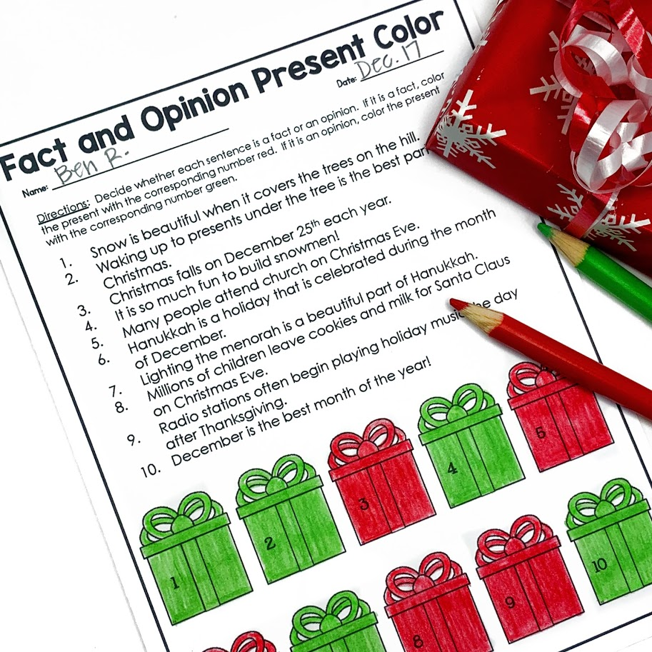 Christmas gift fact or opinion worksheet