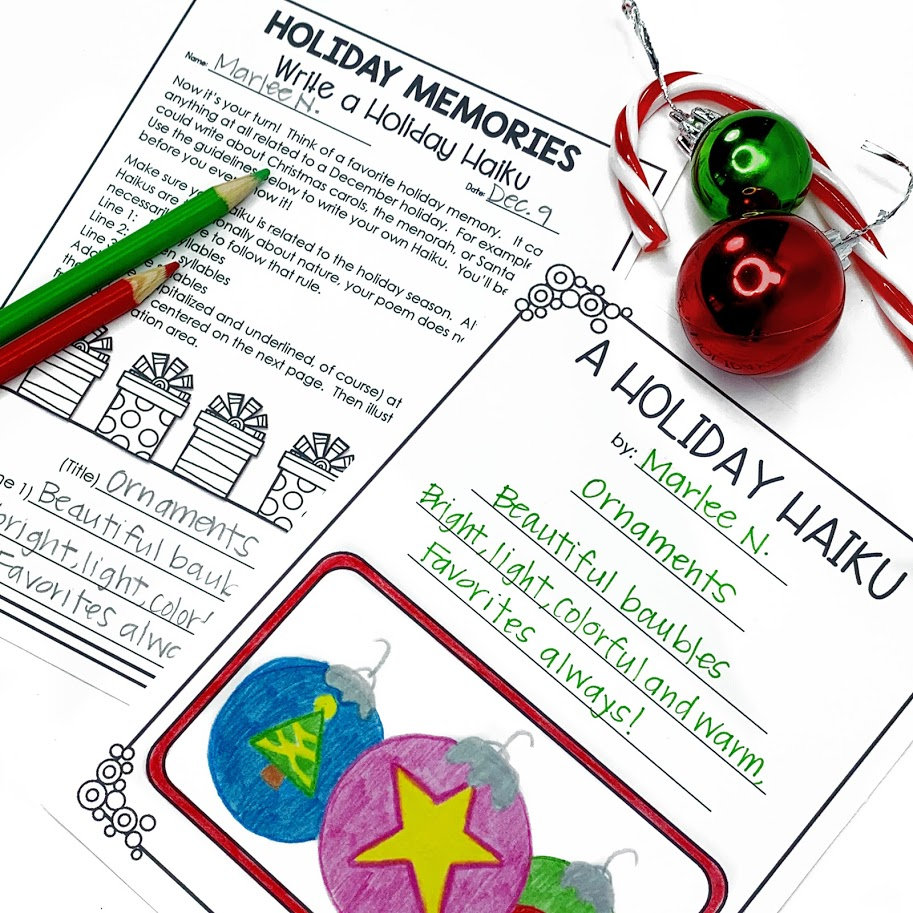 a holiday haiku writing activity for upper elementary