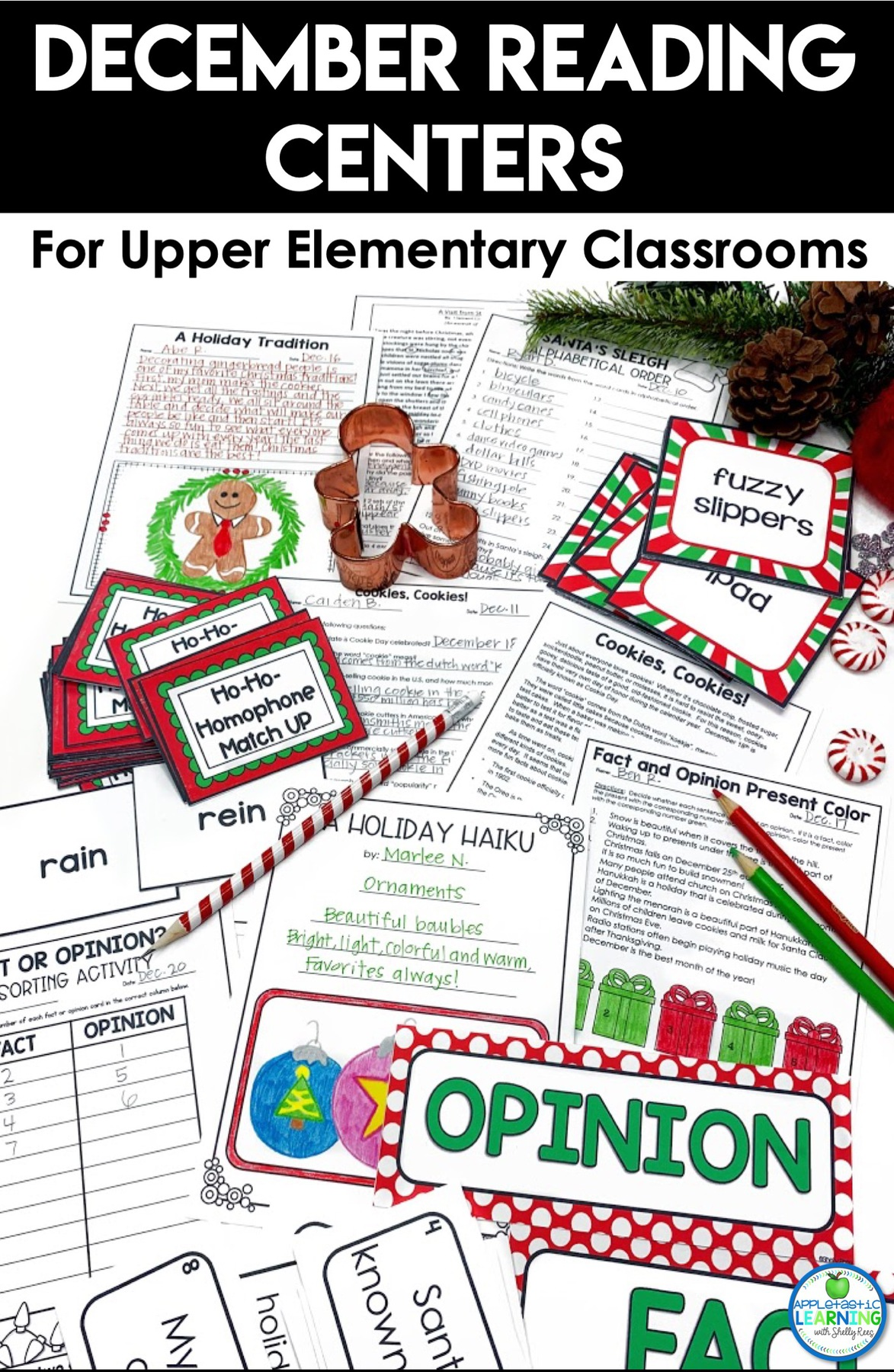 December literacy centers for elementary students
