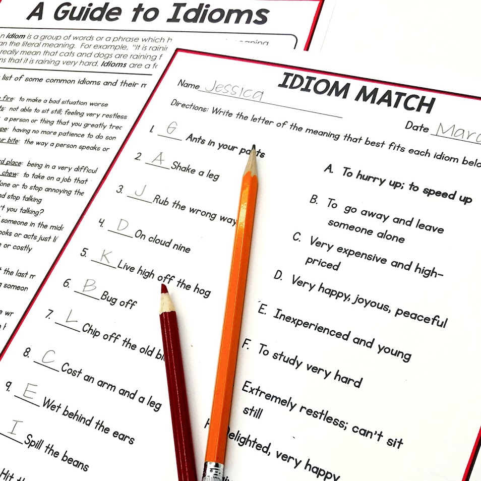 Matching idioms to their meaning is a fun way to introduce idioms and their concepts