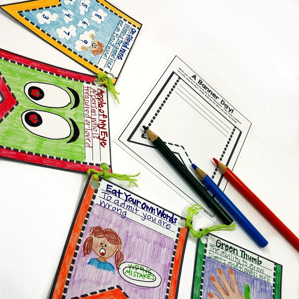 create an idiom banner to display on a bulletin board or in the hallway