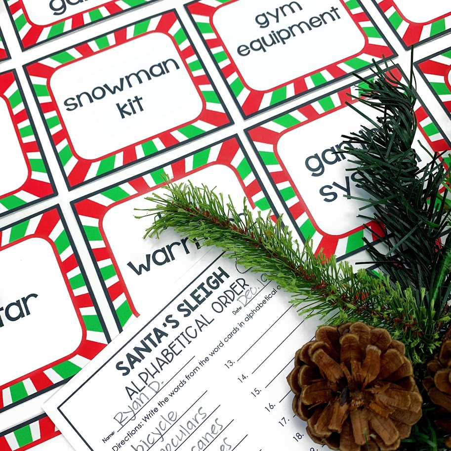 Santa's sleigh ABC order center activity