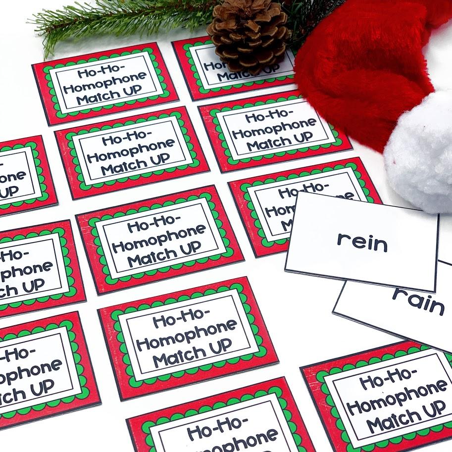 Christmas themed homophone matching game
