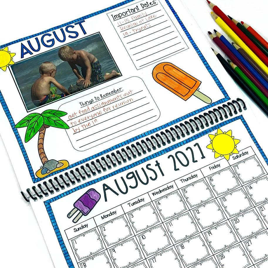 student made calendar for parents