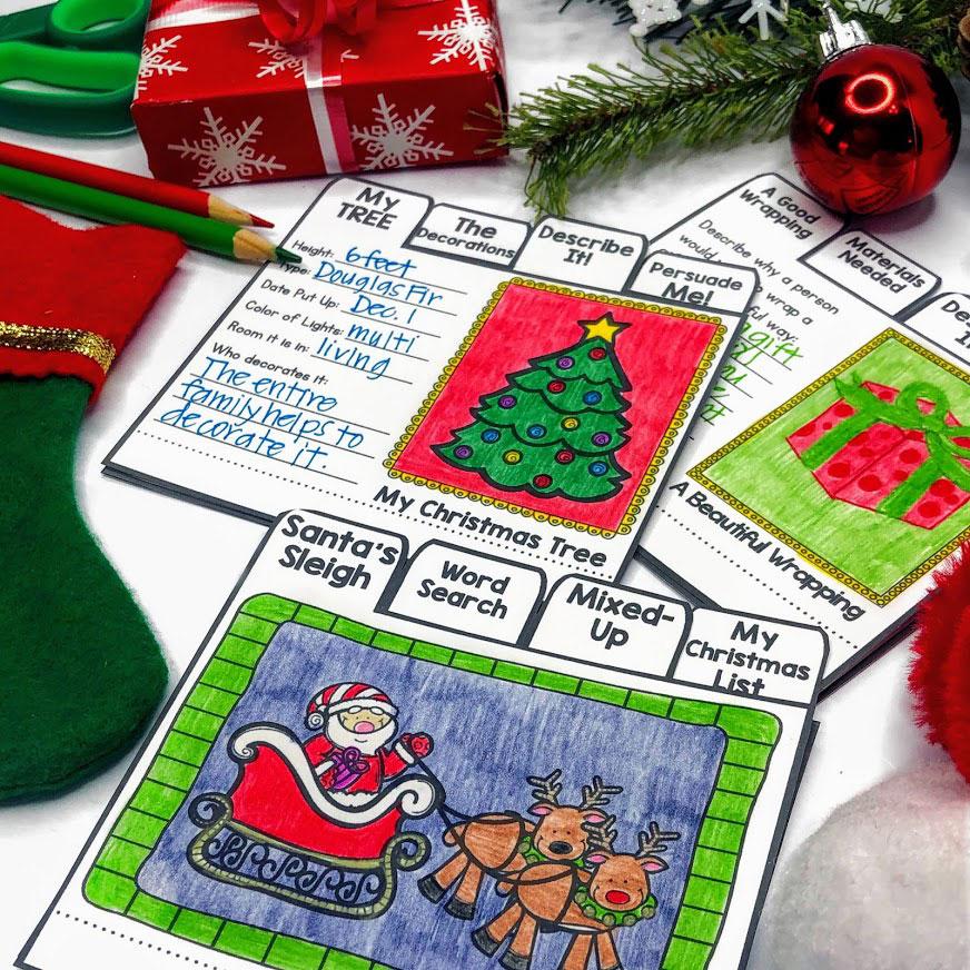 Christmas writing flip books make a fun writing activity fo the holidays